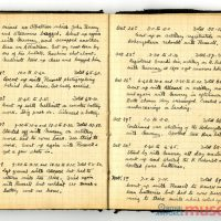 Photo of insert from Bernard's diary. Pages are transcribed on page.